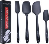 Spatel silicone set van 4 - Pannenlikker - Bakspatel - Hittebestendig - Anti-aanbak - Zwart