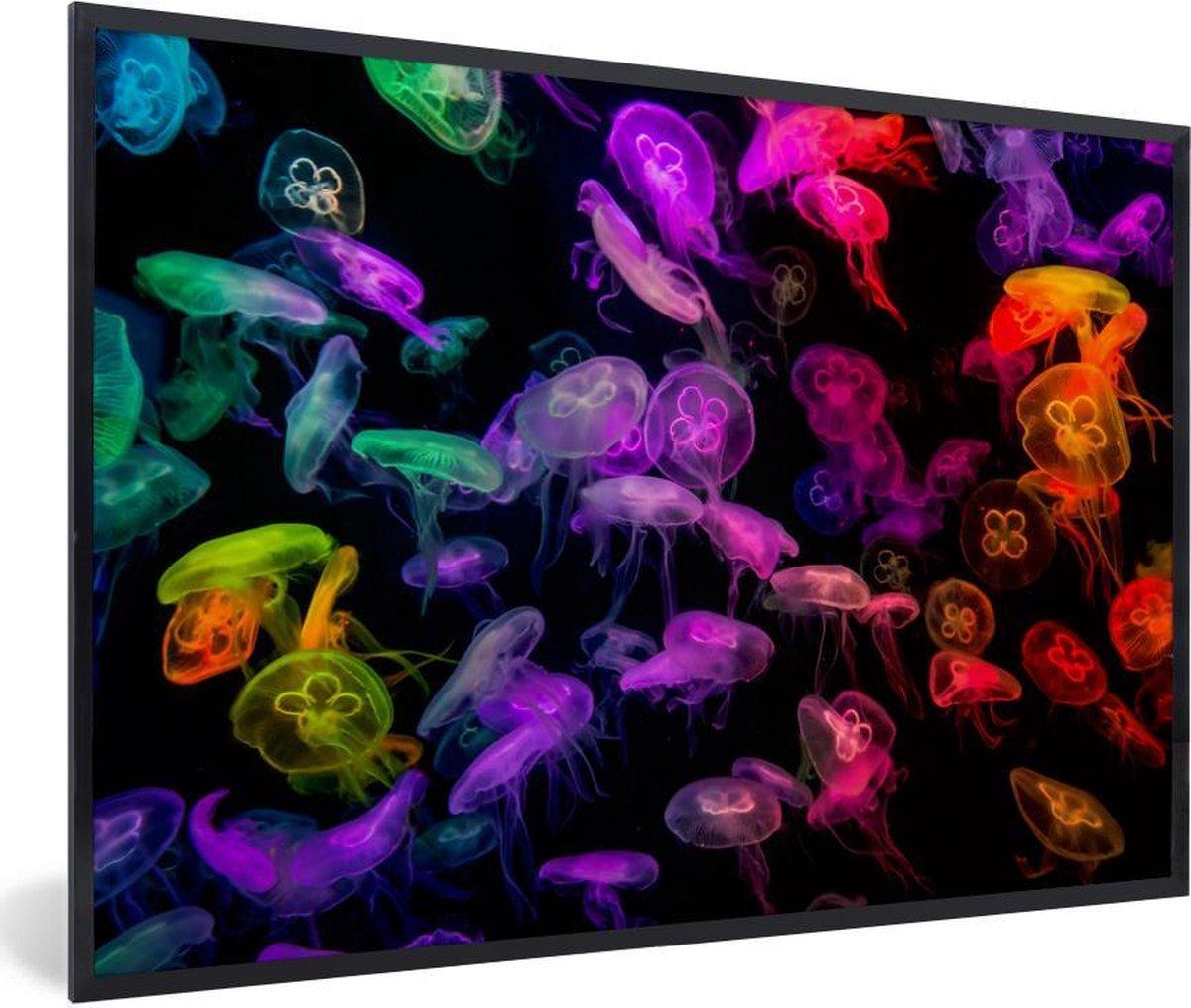 Poster met lijst Aquarium - Kwallen in neonlicht bij een aquarium fotolijst zwart - fotolijst zwart - 30x20 cm - Poster met lijst