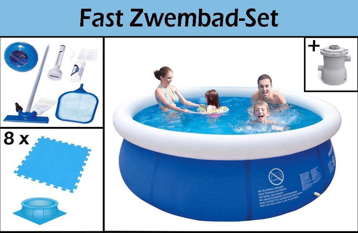 Fast Zwembad-Set | 300x76cm | Inclusief GRATIS Filterpomp, Zwembadtegels & Schoonmaakkit | Ruim Opblaaszwembad