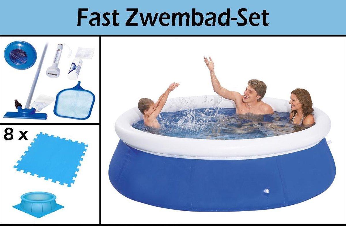 Fast Zwembad-Set | 240x63cm | Inclusief GRATIS Zwembadtegels & Schoonmaakkit | Ruim Zwembad