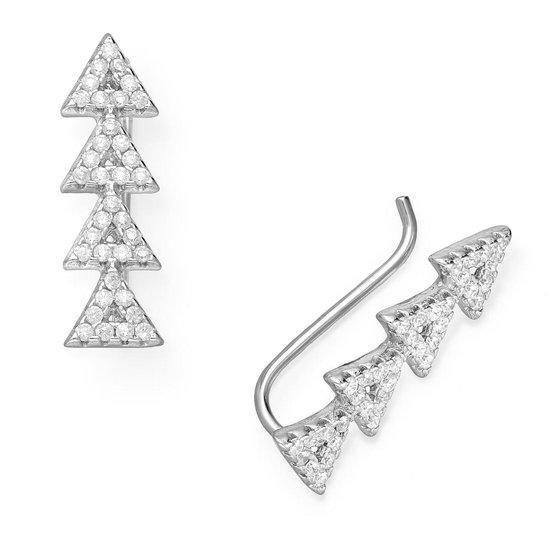 EAR IT UP - Oorklimmers - Driehoek - Ear climbers - Earclimbers - Ear crawlers - Gerhodineerd zilver - Zirkonia - Pavézetting - 20 x 6 mm - 1 paar