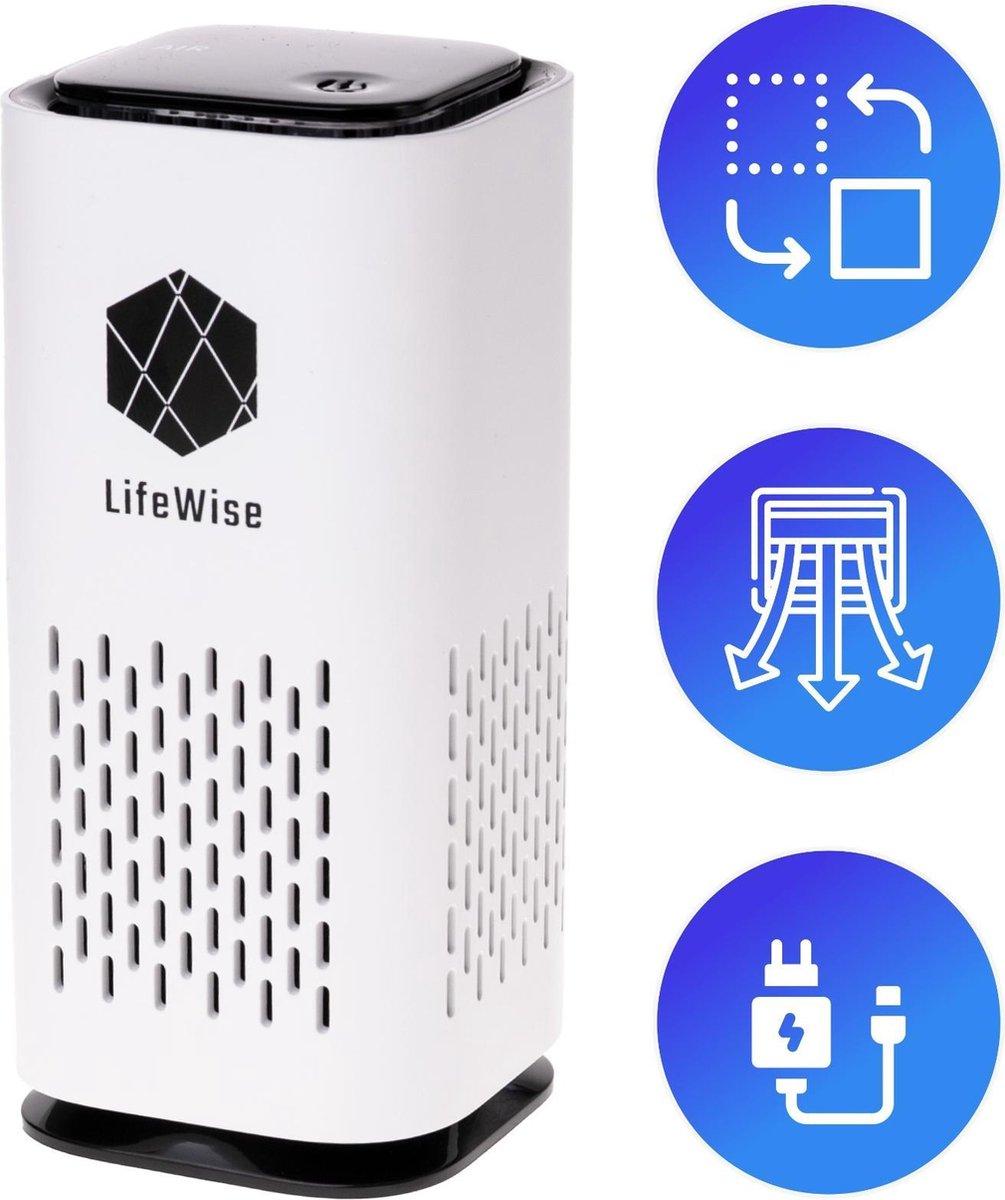 LifeWise Air Purifier – Mini Luchtreiniger met Ionisator / Actieve Koolstof – Vervangbaar HEPA Filter – USB en Stopcontact