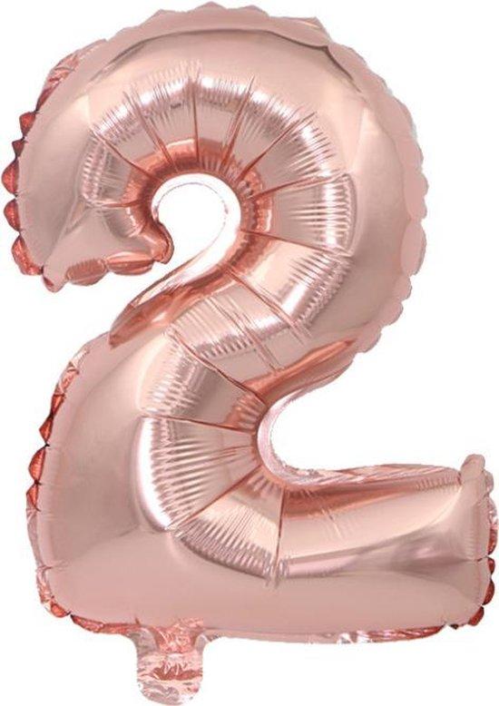Cijfer ballon 2 jaar Babydouche - Rose goud Folie helium ballonnen - 100 cm - rosé verjaardag versiering