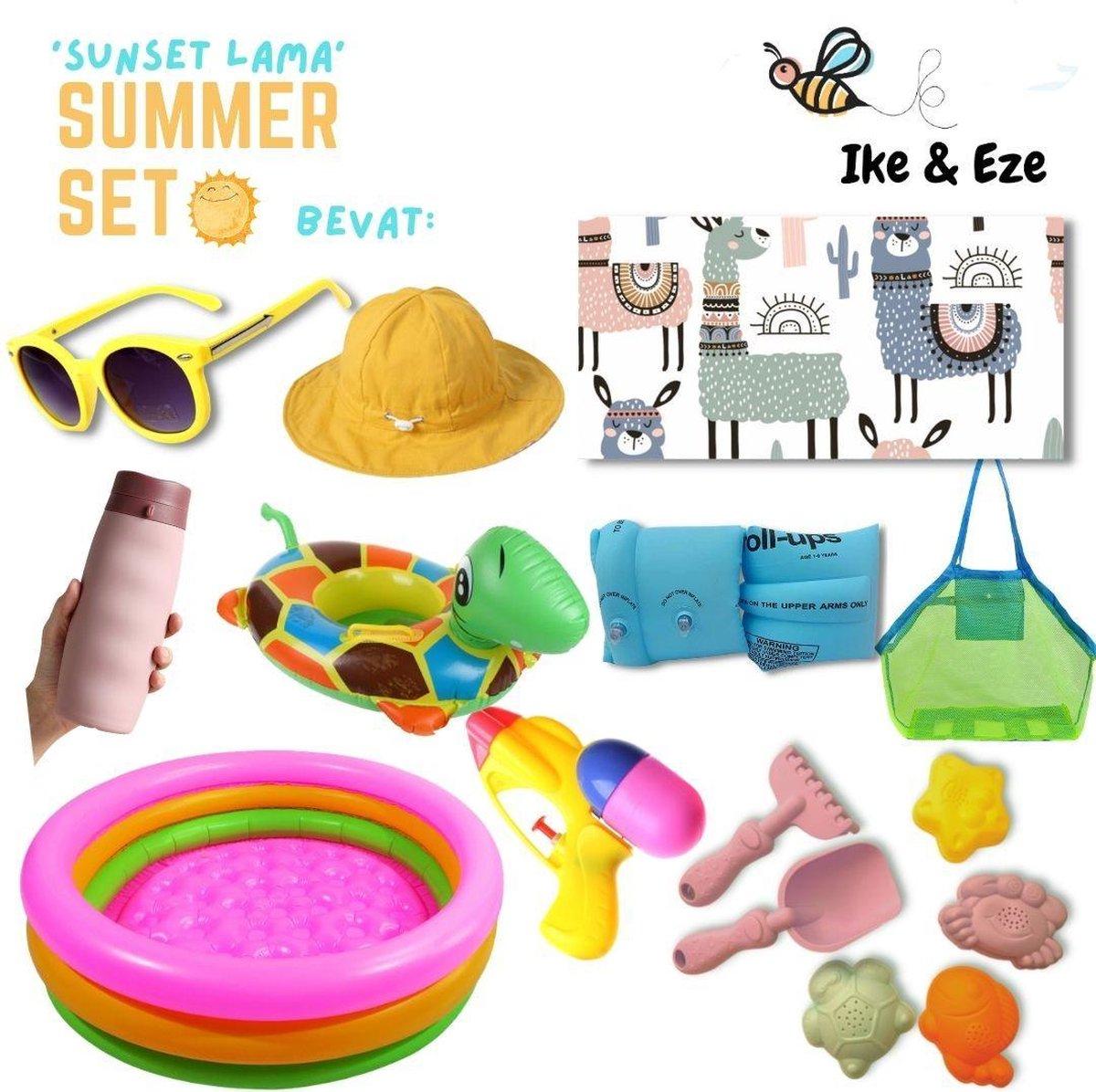 'Sunset Lama' Summer Set - Zomer Set - Strandlaken - strandtas - drinkfles - zonnebril - zon hoedje - opblaasbaar zwembad, zwembandjes en zwemband - zandvormpjes - schepje - hakje - waterpistooltje