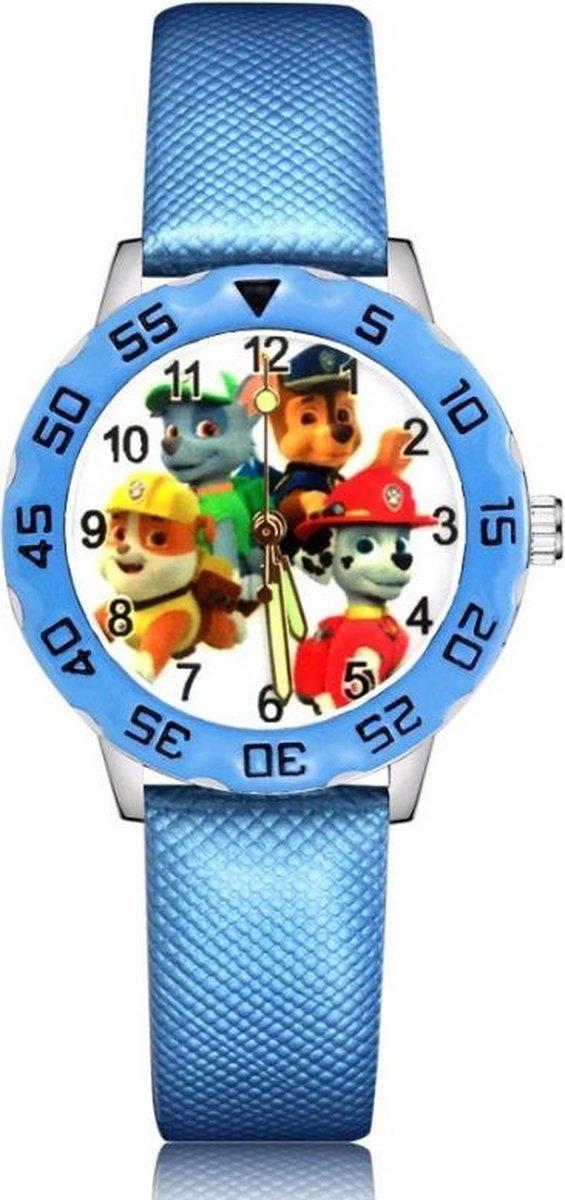 Paw Patrol horloge (4 hondjes) met glow in the dark wijzers deluxe