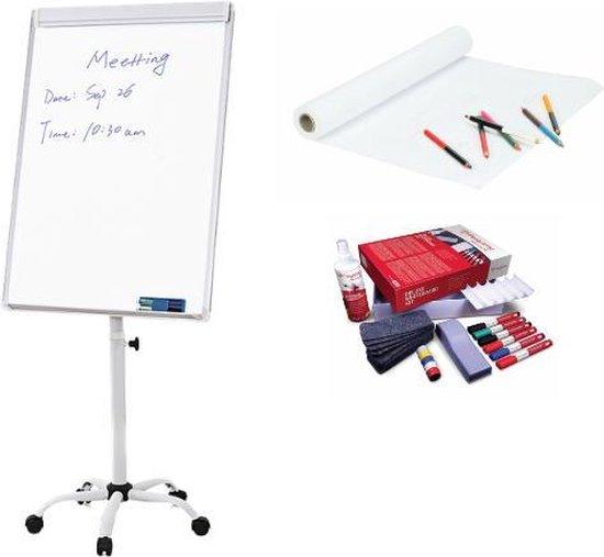 Afbeelding van EFLO® Flipover - Magnetisch Whiteboard - Mobiel - Inclusief Papieren rol & Whiteboard accessoires