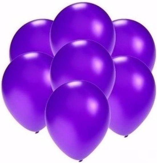 Kleine metallic paarse ballonnen 30x stuks - Feestartikelen/versiering
