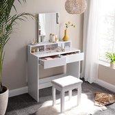 Kaptafel met rechthoekige spiegel en 2 lades, cosmetische tafel met 3 open vakken, kaptafel, voor make-up, modern, wit RDT113W01