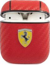 Ferrari Carbon Hoesje - voor Apple Airpods 1 & 2 - Rood