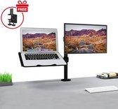 Säkert ® – Monitor arm laptop en scherm (tot 32 inch) – Monitor beugel ook geschikt voor 2 schermen – Voor bureau bevestiging – Zwart