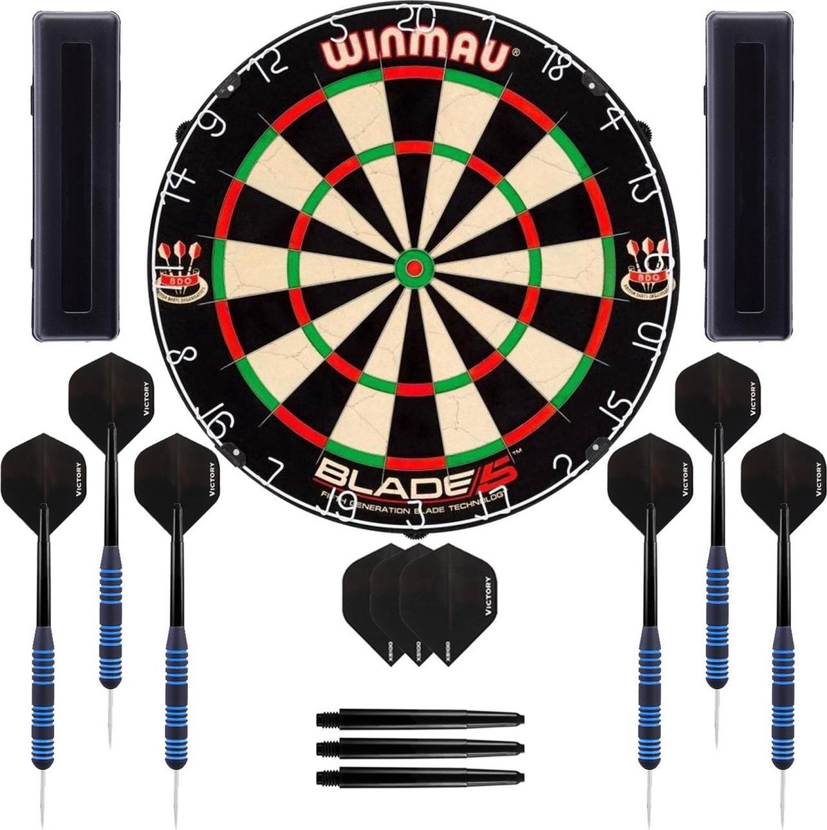 Dragon Darts Impact set - dartbord - 2 sets - dartpijlen - dart shafts - dart flights - Winmau Blade 5 - Winmau dartbord