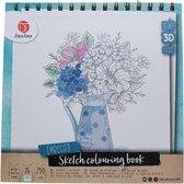 Decotime   schets kleurboek 3D effect   bloemen   24 pagina's   blauw