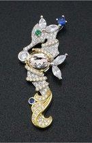 Zilveren zeepaardje met edelstenen en collier