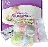 BabyDu® Wasbare Zoogcompressen - Uitwasbare zoogkompressen - Incl. Wasmachine zakje en Opbergzakje - Doorsnede 12cm - 14 stuks