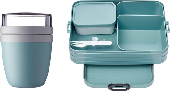 Mepal – Lunchpot + Bento Lunchbox Take a Break – Nordic green - Praktische muesli beker to go - Lunchbox voor volwassenen