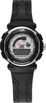 Clips  557-1003-84 Horloge - Rubber - Zwart - Ø 36 mm
