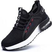 Werkschoenen Dames / Heren - Veiligheidsschoenen Dames - Veiligheidsschoenen Heren - Veiligheidsschoenen Sneakers - Unisex - Sportief - Lichtgewicht- S1P  - Maat 44 - Zwart/Wit