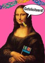 Grappige kunst felicitatiekaarten set - 8 verschillende gefeliciteerd ansichtkaarten - Meisje met de Parel, Mona Lisa etc.