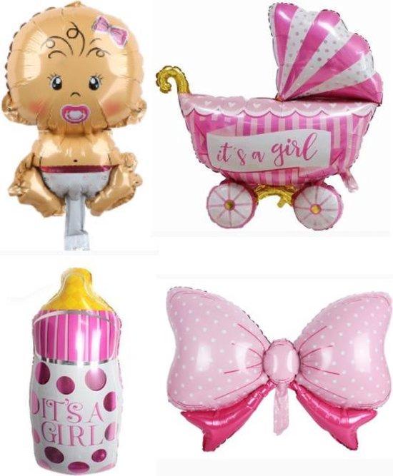 Geboorte Set Girl ballonnen - XL - 4 stuks - Baby ballon - Roze - Folie ballon - Themafeest - Babyshower - Geboorte - It