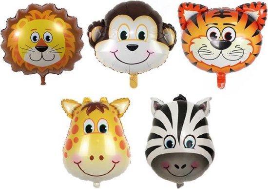 Jungle Dieren ballonnen -Set - XL - 5 stuks - Giraffe - Aap - Tijger - Leeuw - Zebra - 89x78cm - XL - Versiering - Thema feest - Verjaardag - jungle - Dieren - Jungle versiering - Folie Ballon - Ballonnen - Helium ballon - Leeg - Versiering - Jungle