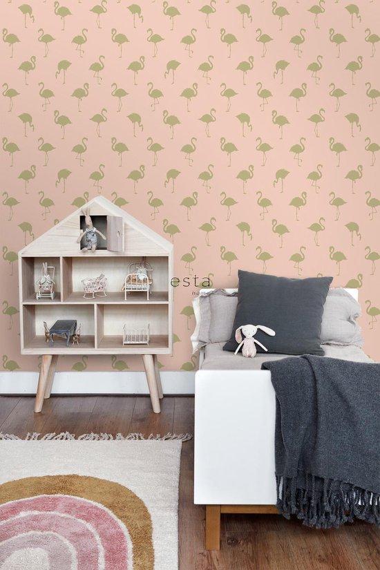 ESTAhome behangpapier flamingo's goud en perzik roze - 138994 - ESTAHome
