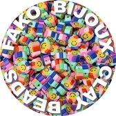 Fako Bijoux® - Klei Kralen Bloem Smiley / Emoji Regenboog - Figuurkralen - Kleikralen - 10mm - 100 Stuks