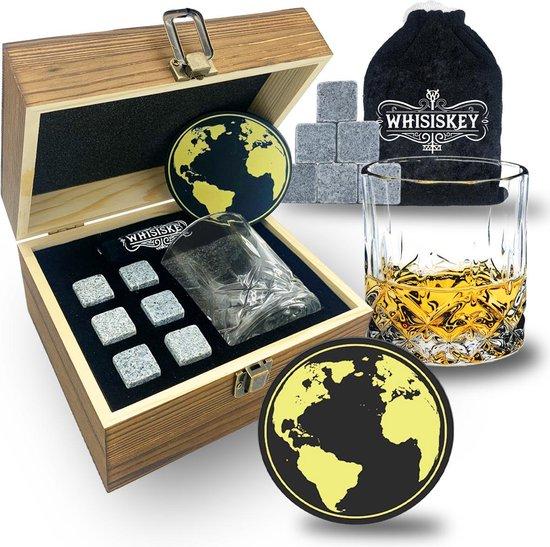 Whisiskey® Luxe Whiskey Set - Incl. 6 Whiskey Stones, Whiskey Glas, Onderzetters,  Fluwelen Opbergzak, Opbergbox - Whisky Cadeauset - Herbruikbare IJsblokjes - Natuursteen Whiskey Stenen Voor Glazen - IJklontjes Steen - Ice Cube