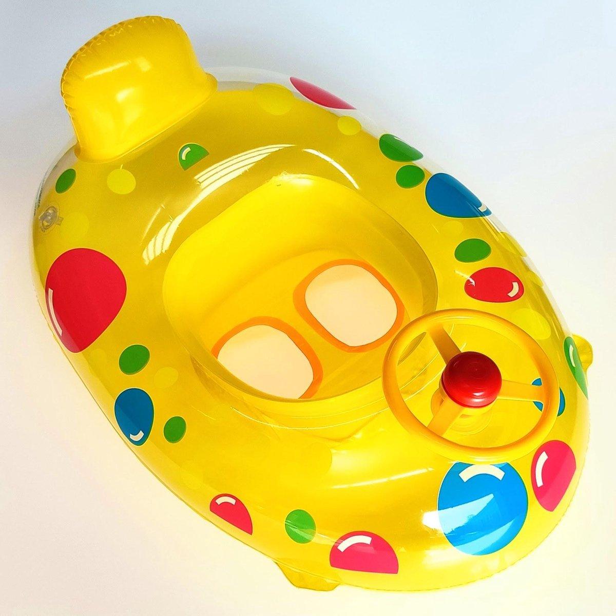Jobber Playground Baby Float Deluxe - Baby Zwemband Bootje - Rubber boot - Incl. Toeter Stuur - 65CM