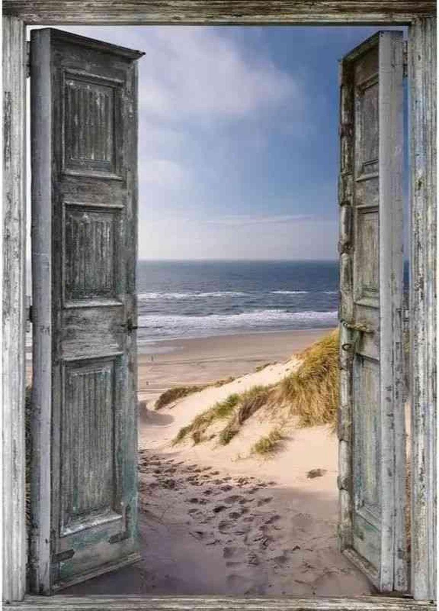 Diamond painting - Zee achter deur - Geproduceerd in Nederland - 20 x 30 cm - canvas materiaal - vierkante steentjes + gratis luxe pen t.w.v. 12,99