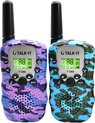 TALK-IT Walkie Talkie Voor Kinderen en Volwassenen - Portofoon - 3KM Bereik - 2 stuks - Camouflage Paars Blauw - Media Evolution®