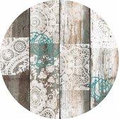 Tafelzeil/tafelkleed houten planken met kant print 160 cm rond - Tuintafelkleed - Houtlook