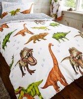 1-persoons jongens dekbedovertrek wit met gevaarlijke en brullende dino's / dinosauriërs (dinosaurus) in bruin / groen