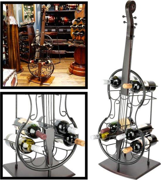 Metalen XL Staande Gitaar Wijnrek - Decoratief - Guitar Wine Bottle Holder - Wijn Flessenrek voor 10 Wijnflessen - Hoogte 108 Cm