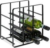 relaxdays Wijnrek metaal voor 9 flessen -  wijn liggend opbergen - wijnfleshouder - zwart