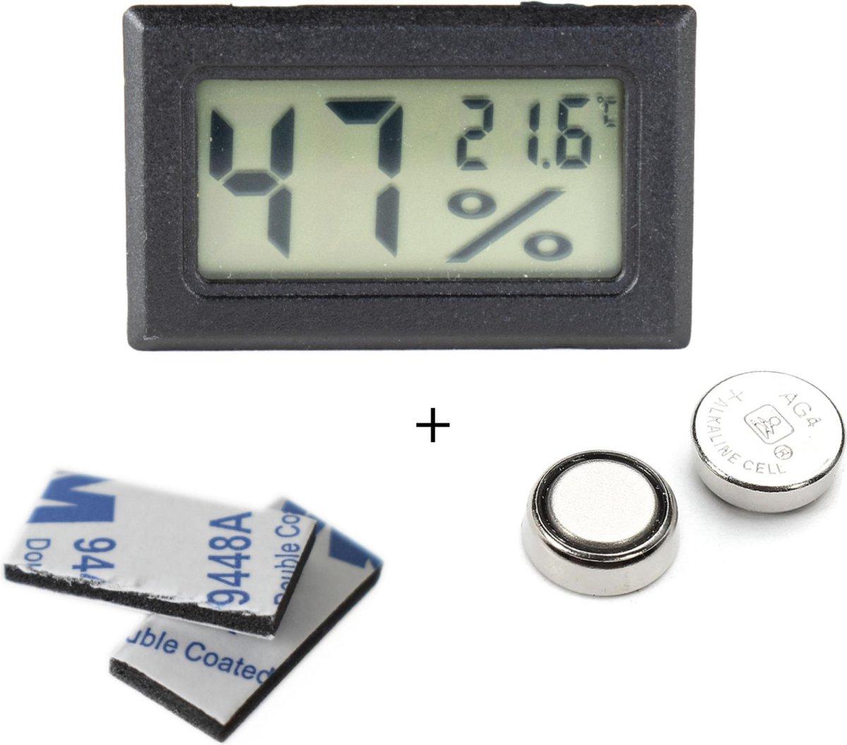 Tool Meister - Hygrometer en Temperatuurmeter - 2 in 1 - Digitaal - Voor buiten en binnen - Zwart -