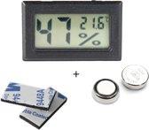 Tool Meister - Hygrometer en Temperatuurmeter - 2 in 1 - Digitaal - Voor buiten en binnen - Zwart - Inclusief Batterijen