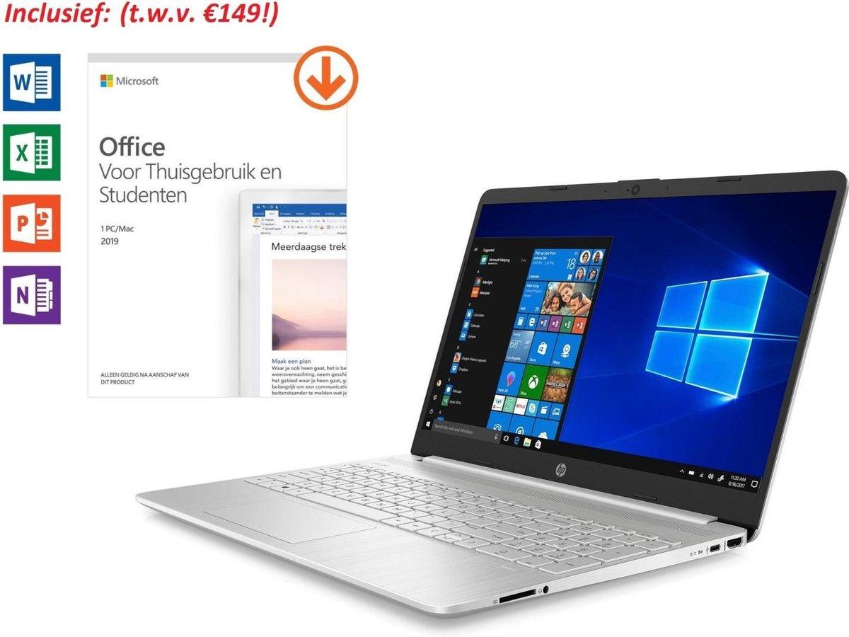 HP 15 inch Laptop - AMD Ryzen 5 - Zilver - 8GB RAM - 512GB SSD - Windows 10 - Tijdelijk met GRATIS Office 2019 Home & Student 2019 t.w.v. €149! (verloopt niet, geen abonnement)