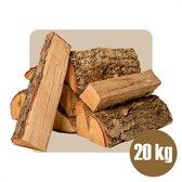 Open Haardhout Box 20kg - Inclusief Aanmaakhout & Aanmaakblokjes - Ovengedroogd Brandhout - Hout voor Vuurkorf & Openhaard