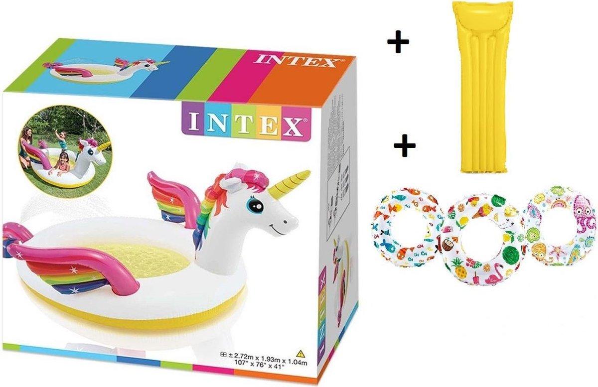 Intex zwembad Eenhoorn met sproeifunctie - Kinderbad - Zwembad - Unicorn - GRATIS 1x Opblaasbare zwemband/zwemring 61 cm - Zwembenodigdheden - Zwemringen