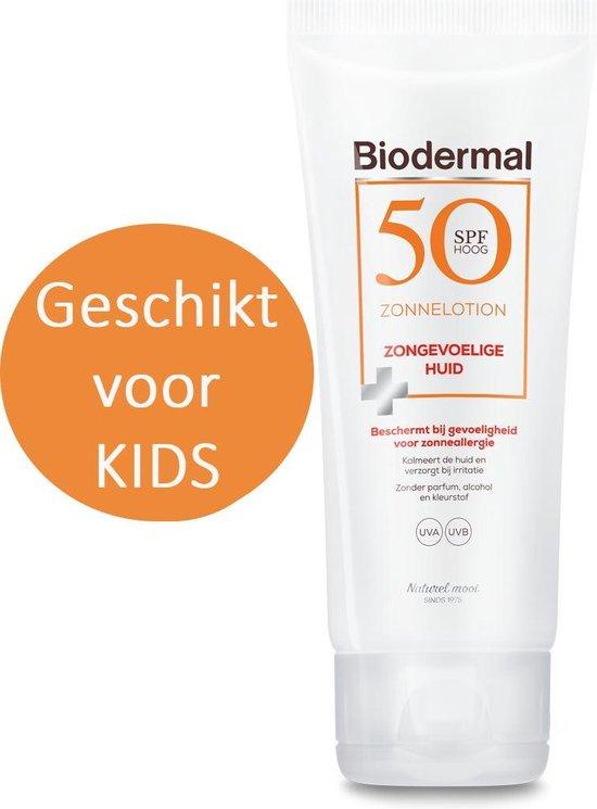 Biodermal Zonnelotion Gevoelige Huid - zonnebrand voor de gevoelige huid - Spf 50 - 100 ml - ook geschikt voor kinderen