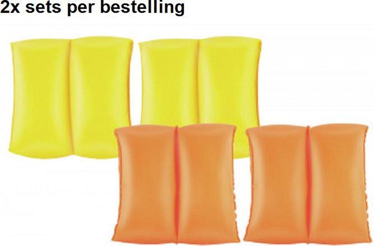 Bestway watervleugels 20cm x 20cm - 2 kleuren - Geel en Orange - 2x sets zwembandjes - drijfbandjes - voor de leeftijd 3 - 6 jaar oud