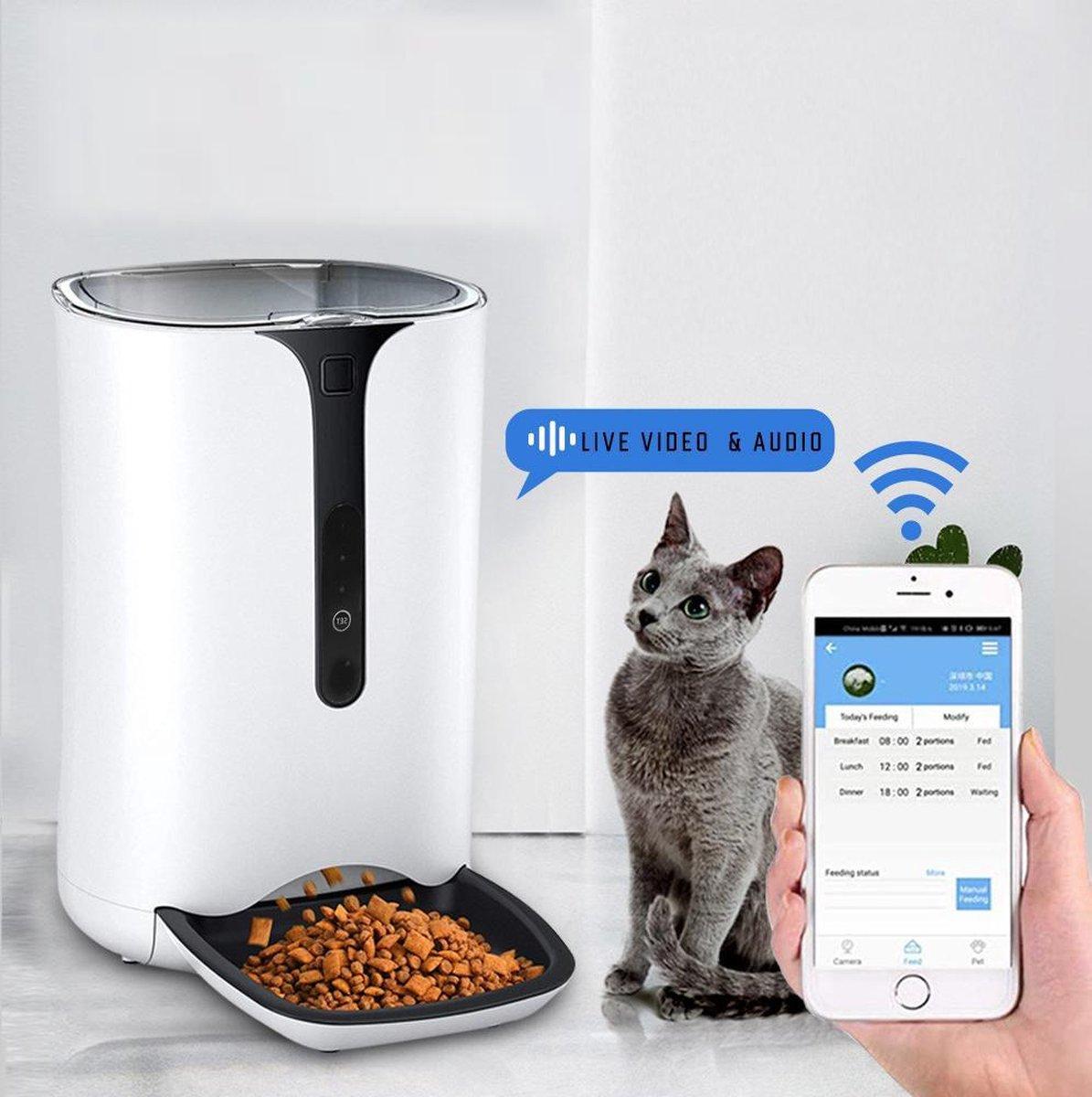 Automatische voerbak - WiFi Smart Voerautomaat - Ingebouwde Camera & Microfoon - Automatische voerba