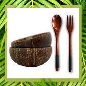 Livin' Kokosnoot Kommen Set met 2x Kokosnoot Schaal, Luxe Vorken en Lepels - Serviesset met Schaal en Bestek - Handgemaakt van Duurzaam Materiaal - Eco-Friendly en 100% Biologisch - Voor Smoothie en Pokebowls, Yoghurt, Snacks, Salades