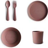 Mushie Serviesset |Set bord+beker+Kom+vork en Lepel|5-delig|Woodchuck|Kinderservies|BIBS|Bestek|Bord|Beker|Cup| Kom|