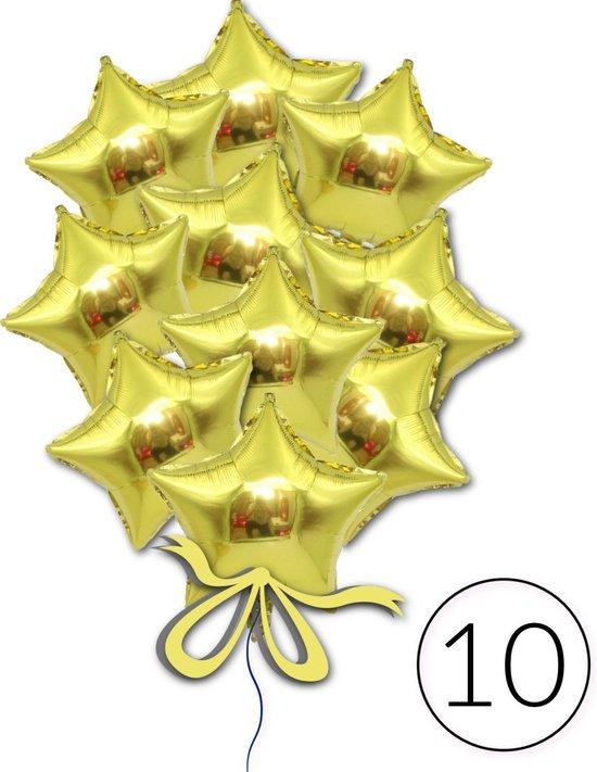 10 Folie Ballonnen Ster Goud voor Verjaardag, Gala, Feestversiering, Themafeest, Glitter & Glamour Party   Geschikt voor Helium