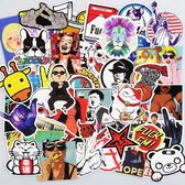 Mix van 50 coole Skateboard stickers voor laptop, telefoon, skateboard, koelkast, koffer, douche etc. Hoge kwaliteit PVC Stickers, watervast en UV bestendig