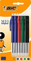 BIC M10 Medium Balpen - Assorti Blauw, Zwart, Groen en Rood, pak van 10 stuks