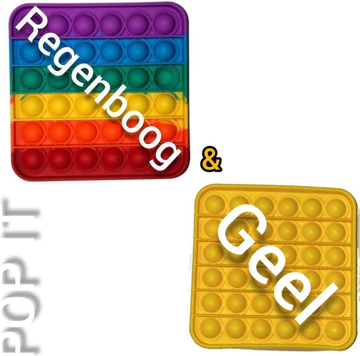 Pop it | Fidget toys pakket | Regenboog vierkant + Vierkant geel | Meisjes jongens volwassenen| Anti stress 2021| Cadeautip _ Leuk voor zwembad