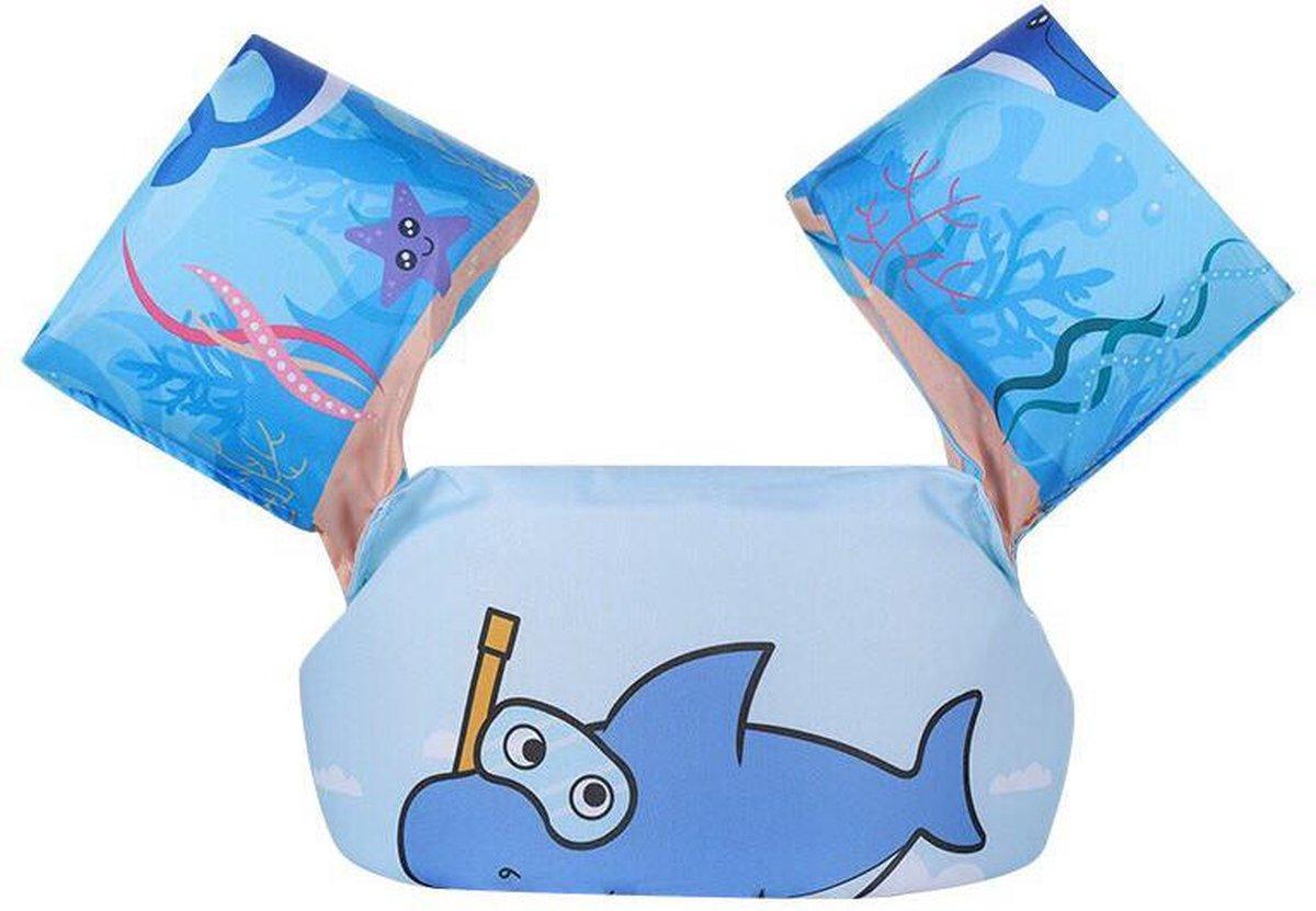 OhmyGoods Puddle Jumper - Blauw - Shark - Haai - Kinder Zwemvest - 2 tot 6 jaar - Zwembandjes - Drijfvest - Reddingsvest - voor in het Zwembad