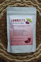 Biologische Rode Bieten Poeder 200 Gram -  JamBeets  100% Organic Beetroot powder - Bietensap voor energie en sport performance boost- Nitriet / Nitric Oxide Supplement